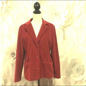 LL Bean Red Button Down Corduroy Blazer